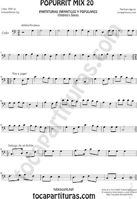 Partitura de Violonchelo Popurrí Mix 20 Partituras de Antón Pirulero, Voy a Jugar, Debajo de un Botón Infantil Sheet Music for Cello Music Scores