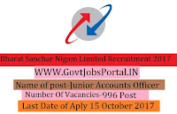 Bharat Sanchar Nigam Limited Recruitment 2017– 996 Junior Accounts Officer