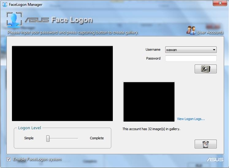 Login Ke Windows mengunakan deteksi wajah (Asus Face Logon