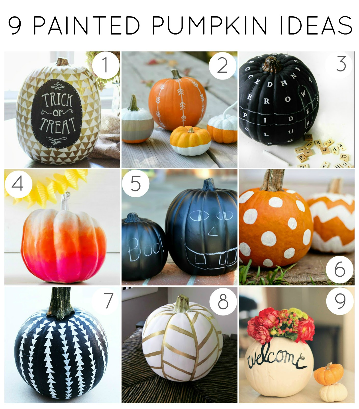 My 9 Favorite Painted Pumpkin Ideas