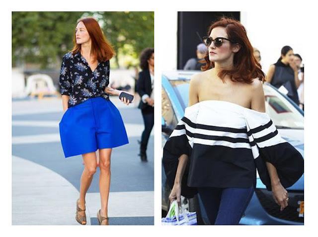 Тейлор Томаси Хилл синие шорты и черно-белая блузка необычной формы