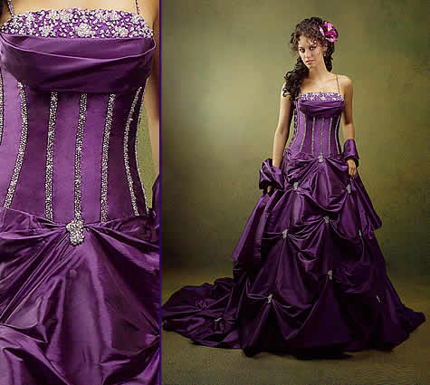Purple And White Bridesmaid Dresses