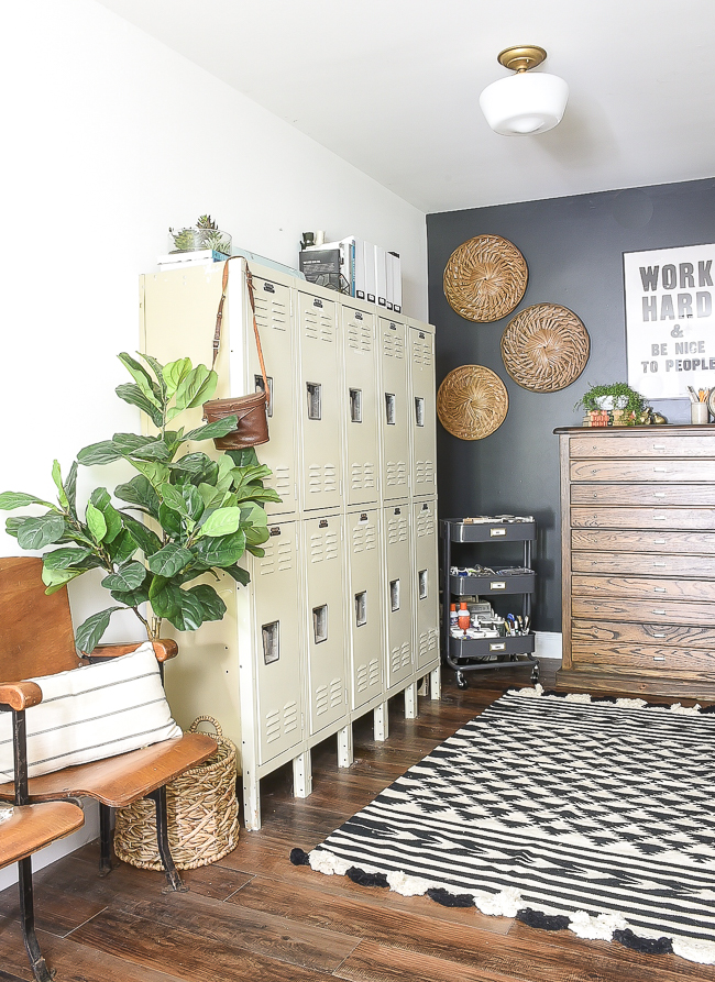 A large set of lockers in a modern industrial farmhouse office