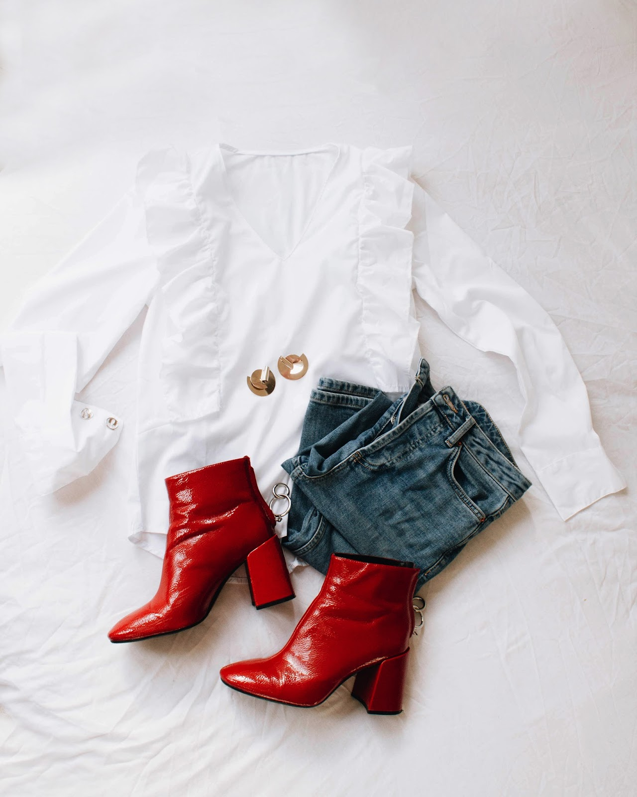 ruffle shirt, red zara boots, red boots, gold statement earrings, denim, cool casual outfit
