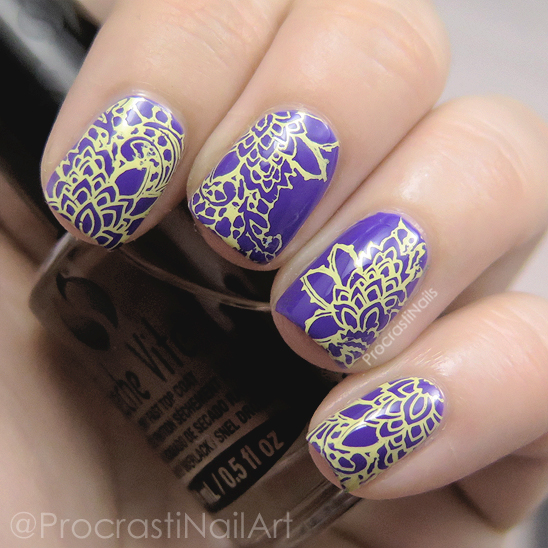 Yellow and purple stamping nail art with MoYou London Bridal Plate Collection 07