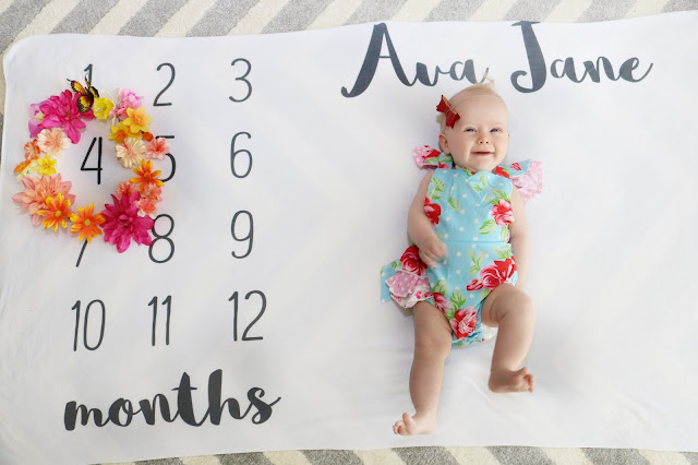 ava jane baby girl spring monthly milestone blanket pregnancy ideas 4 months old