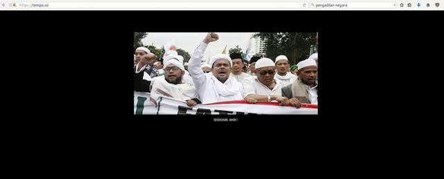 Situs Tempo Diretas, Hacker Bawa Nama Habib Rizieq dan Tuntut Bebaskan Ahok