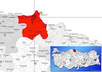 Erfelek ilçesinin nerede olduğunu gösteren harita.