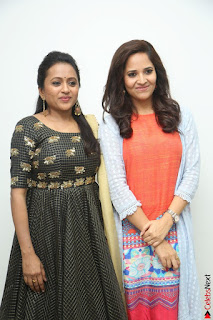 Actress Suma in Black Salwar Suit and Anusuya in orange Dress at winner movie press meet part 1 February 2017 (47).JPG