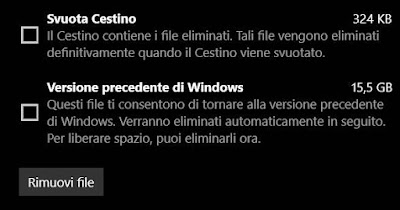 rimuovi file installazione in windows 10