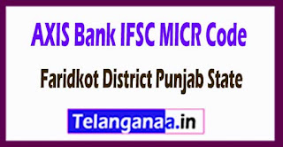 AXIS BANK IFSC MICR Code Faridkot District Punjab State