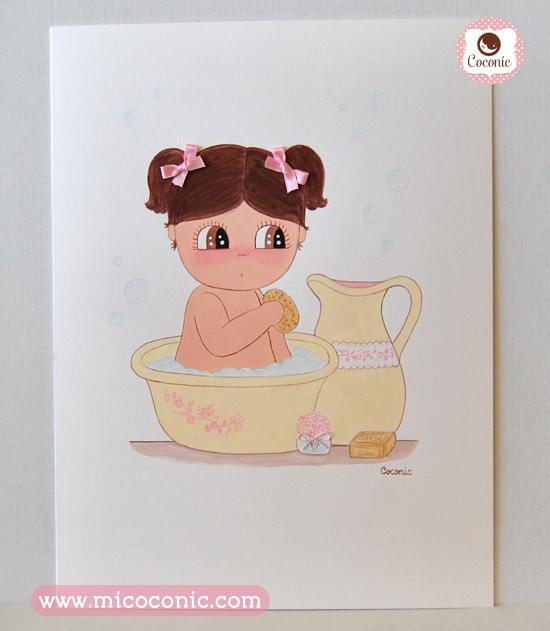 cuadro infantil lamina niña bañera
