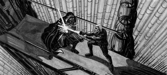 luke darth duel story board star wars
