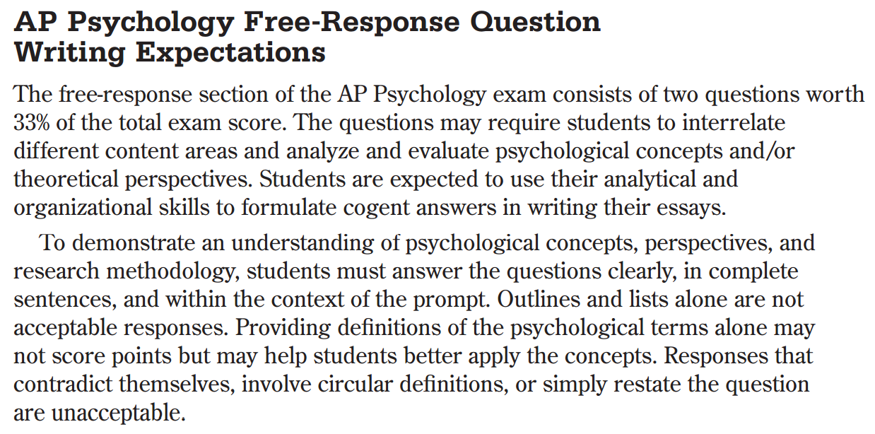AP Psychology with Mr. Duez: FRQ