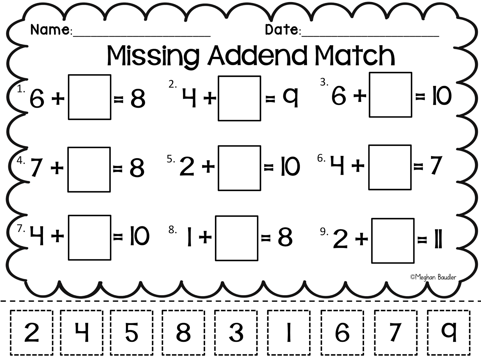 Missing Numbers Math Worksheet Addition