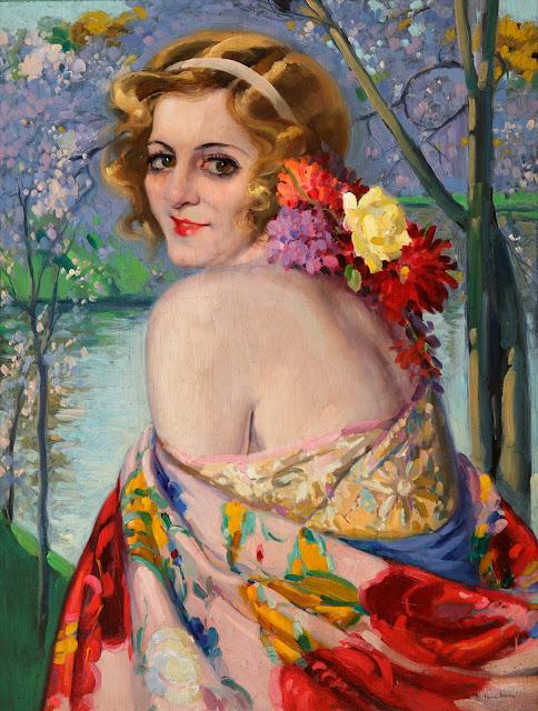 Mujer con mantón, Francisco Pons Arnau, Pintor español, Pintor Valenciano, Pintura Valenciana, Impresionismo Valenciano, Retratos de Francisco Pons Arnau