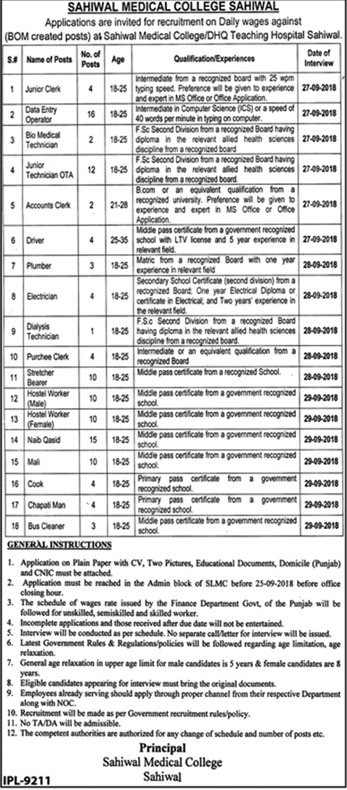 Sahiwal Medical College Jobs 2018 | Data Entry Operators and others | September