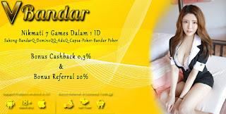 Bonus Cashback 2x Judi Domino Online VBandar.info - www.Sakong2018.com