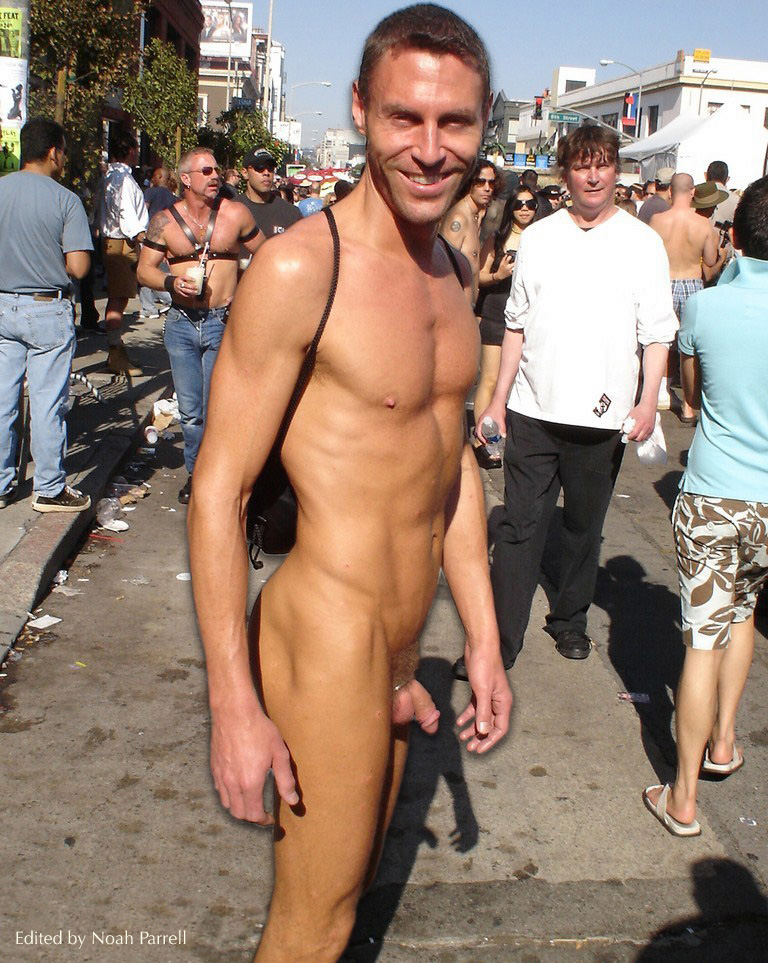 Naked men with erections in public