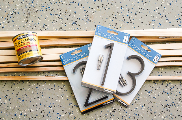 Supplies for modern house number sign