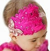 Image: Joy Baby Red Feather Hairband Rose Bow Headband