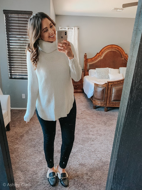 Cream target cow neck pull over sweater old navy black skinny jeans target furry mules