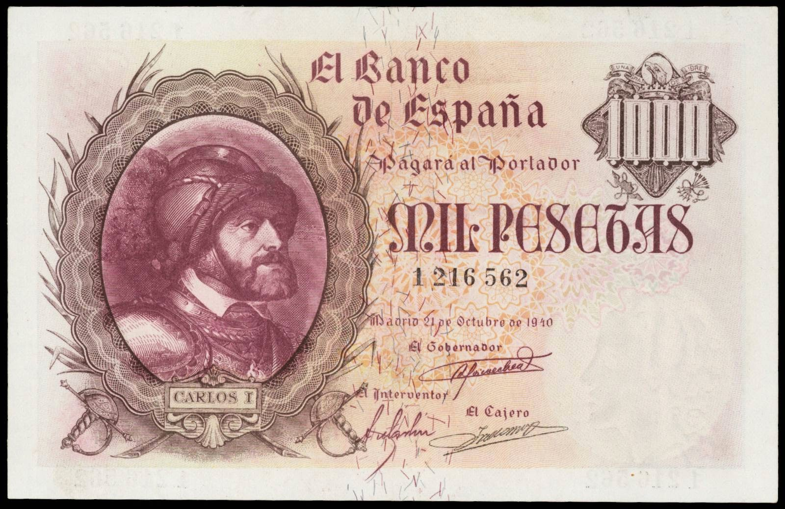 Spain 1000 Pesetas banknote 1940 King Carlos