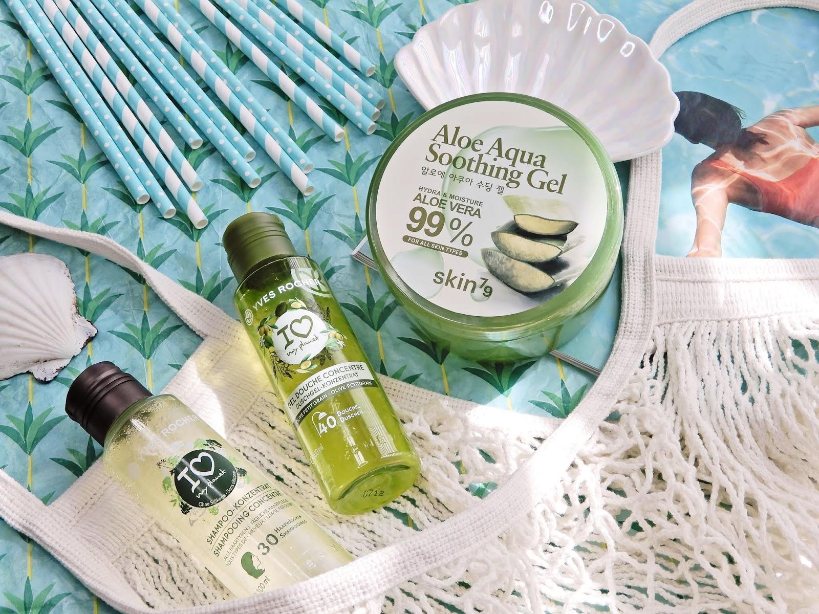 Yves Rocher Skoncentrowany żel pod prysznic oliwka & petit grain, Yves Rocher Skoncentrowany szampon do włosów nadający połyskSkin79 Aloe Aqua Soothing Gel 99 % łagodzący żel aloesowy,