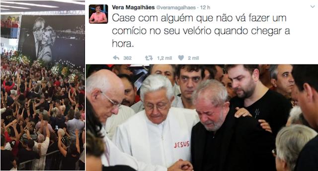 """Primeiro apareceram os que acusaram Lula de pecado futuro: vai usar a morte da esposa para se fazer de vítima.  Acusar alguém de pecados ainda não cometidos é uma tentativa de fechar ao acusado uma alternativa, de desqualificá-la de antemão: """"vai doer, mas chorar você não pode; tente, então, ficar quietinho""""."""