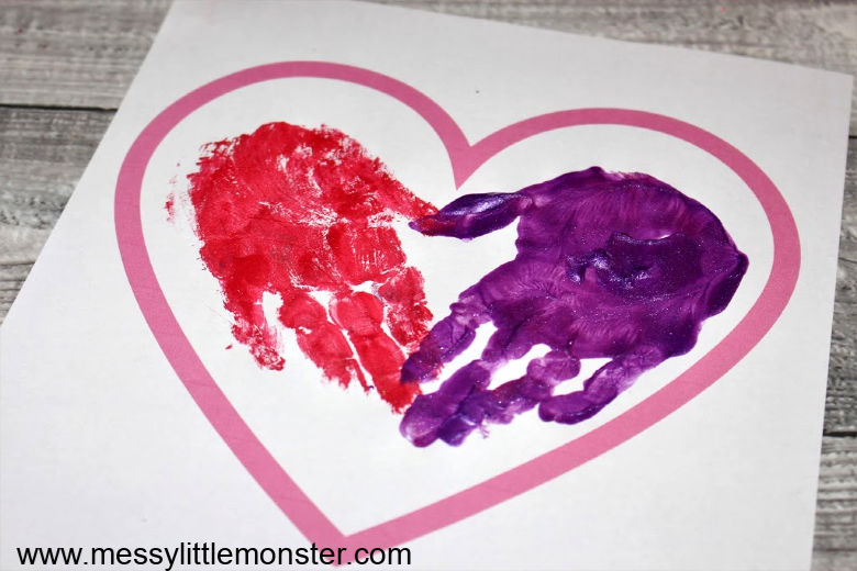 handprint heart keepsake.