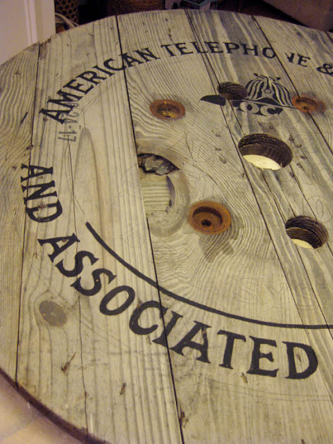 vintage Telephone sign on round part or wire reel, wall art