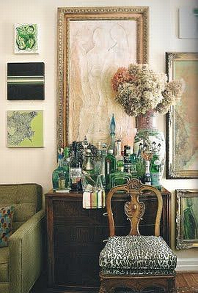 green bar in a living room