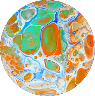 abstract resin art by jane biven. Orange, blue and aqua circle