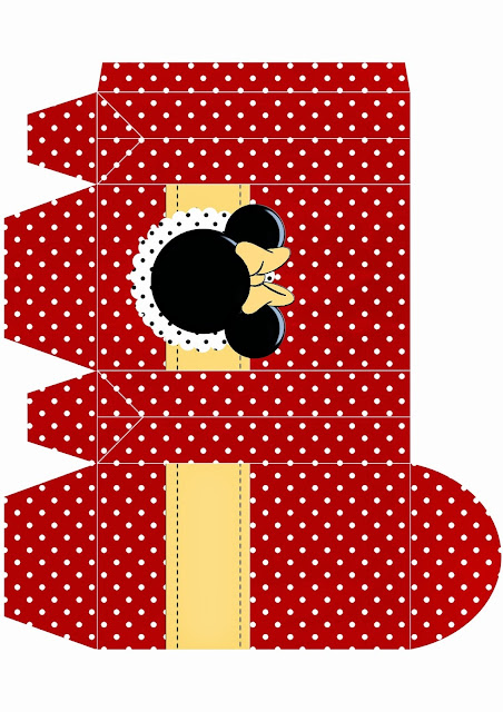 Caja para Imprimir Gratis de Minnie Mouse Rojo.