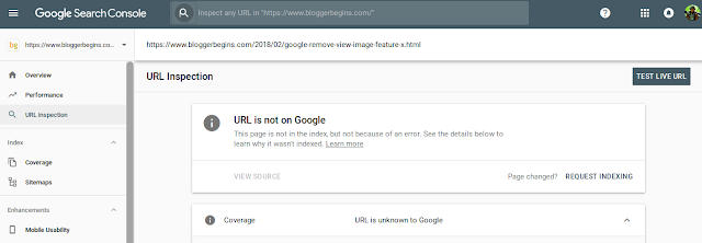 The result of URL inspection : URL is not on Google