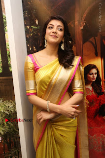 Actress Kajal Agarwal Stills in Golden Silk Saree at Trisha Sesigner Store Launch  0055.jpg