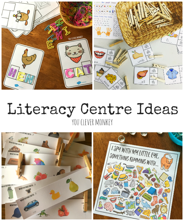 The Ultimate List of Literacy Center Activities - plenty of literacy work station and Daily 5 Word Work ideas and inspiration for the classroom  for developing phonological awareness, rhyme, syllables, initial sound knowledge and word work. Perfect for young children aged 5-8 years | you clever monkey