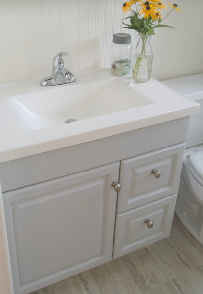 Diy frugal bathroom reno updating an old vanity frugal for Diy bathroom sink cabinet