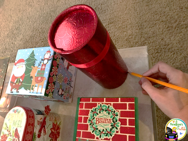 creating a dIY advent calendar by tracing shapes