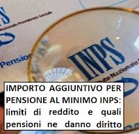 importo aggiuntivo per pensioni al minimo inps