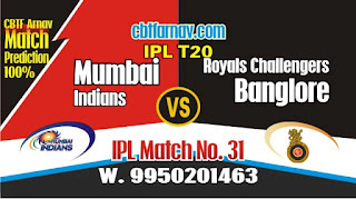 IPL 2019 Match No. 31st RCB vs MI Prediction Who wil Win Today