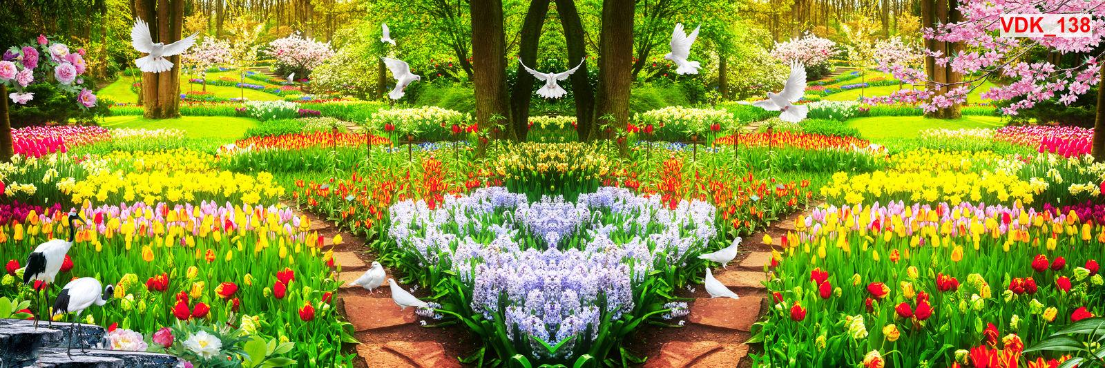 Tranh dán tường 3d phong cảnh vườn hoa