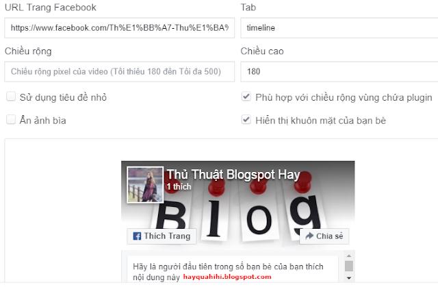 Code like fanpage facebook cho blogspot web wordpress