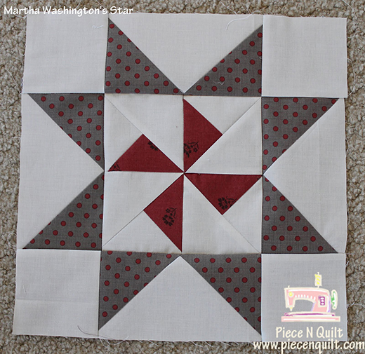 Martha Washington's Star Block Free Tutorial designed by Natalia Bonner of Piece and Quilt