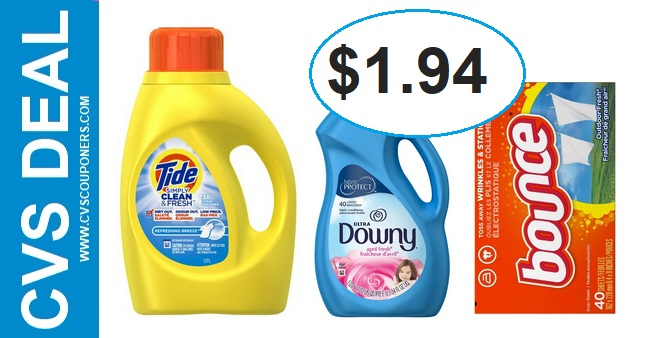 CVS Deal on Tide, Downy or Bounce $1.94 - 5/12-5/18