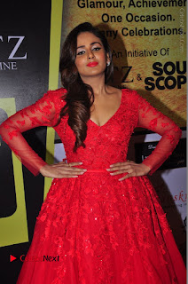 Actress Model Parul Yadav Stills in Red Long Dress at South Scope Lifestyle Awards 2016 Red Carpet  0034.JPG