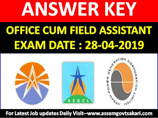APDCL Office Cum Field Assistant Answer Key 2019,Download APDCL Solved Question Paper
