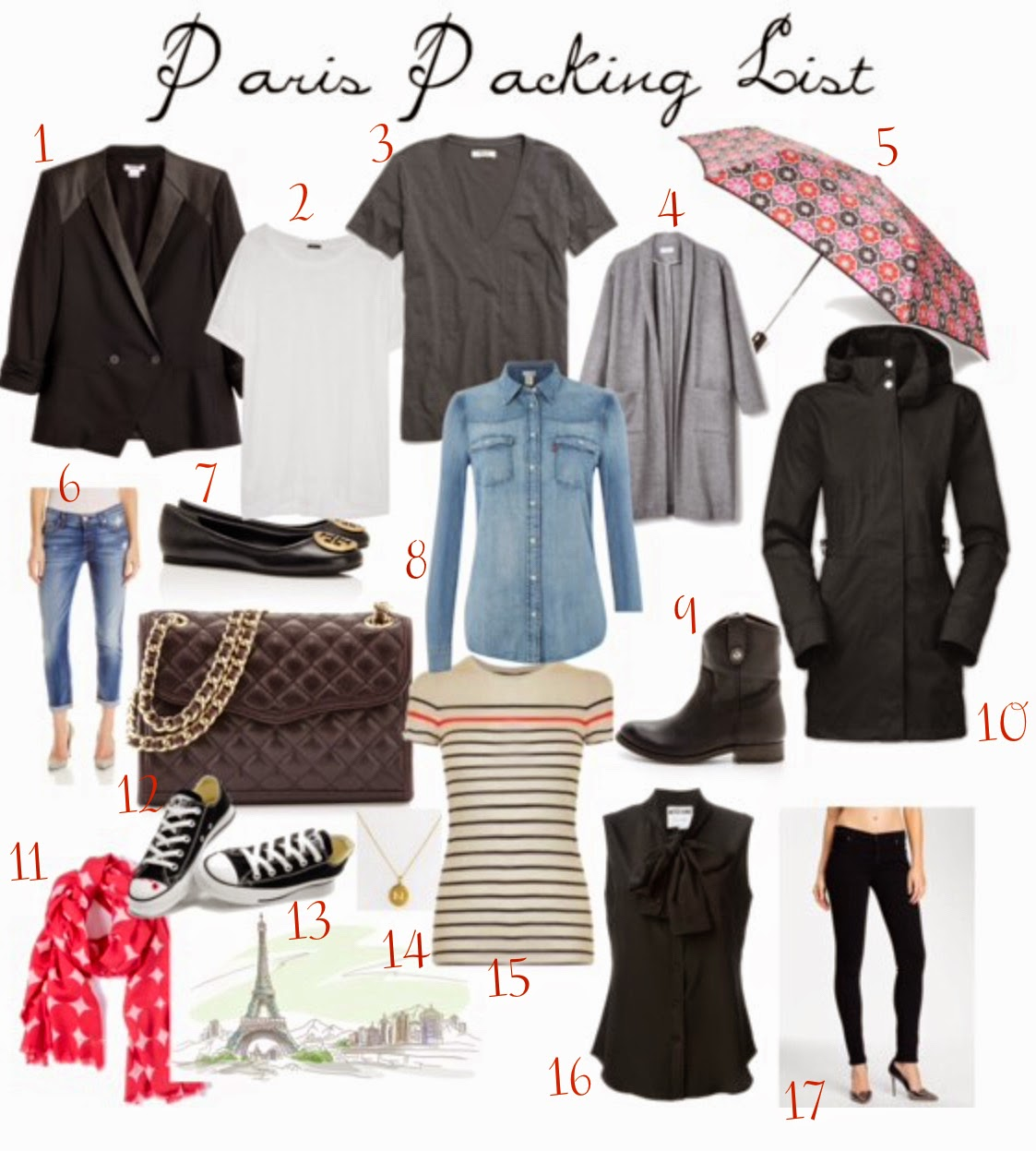 What to Pack to Paris 2015 2016 by Peonies and Orange Blossoms.