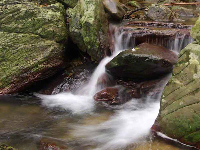 water flowing on rocks, stream, waterfall