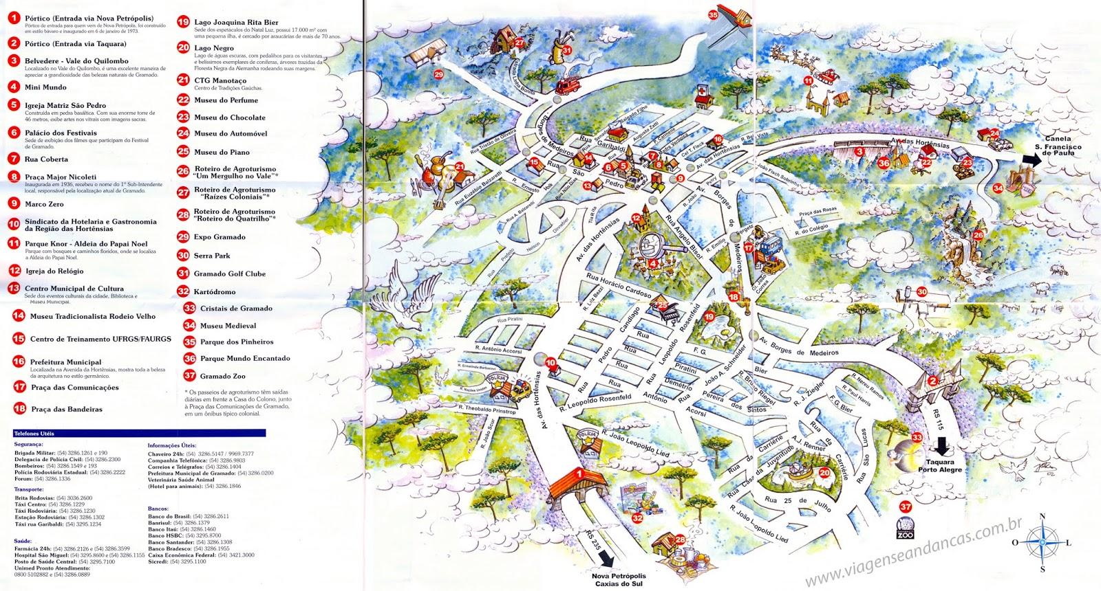 Mapa turístico de Gramado | Rio Grande do Sul
